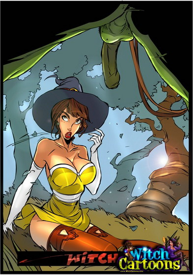 Mature Witch porn toons. Blowjob for an ogre! Green Cock of ogre